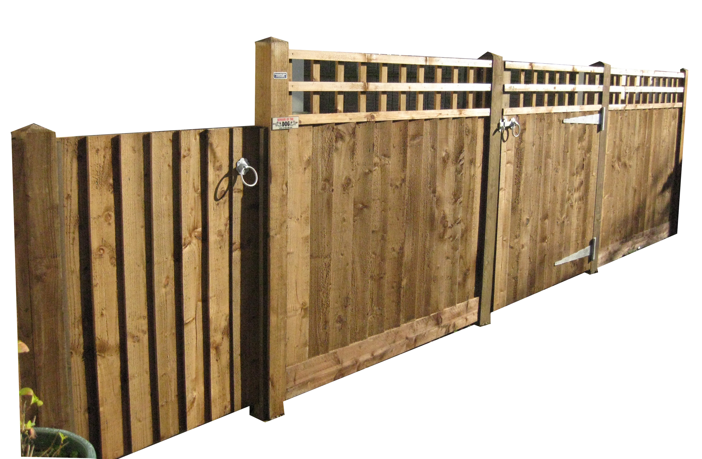 Trellis topped close board fencing  with matching gates