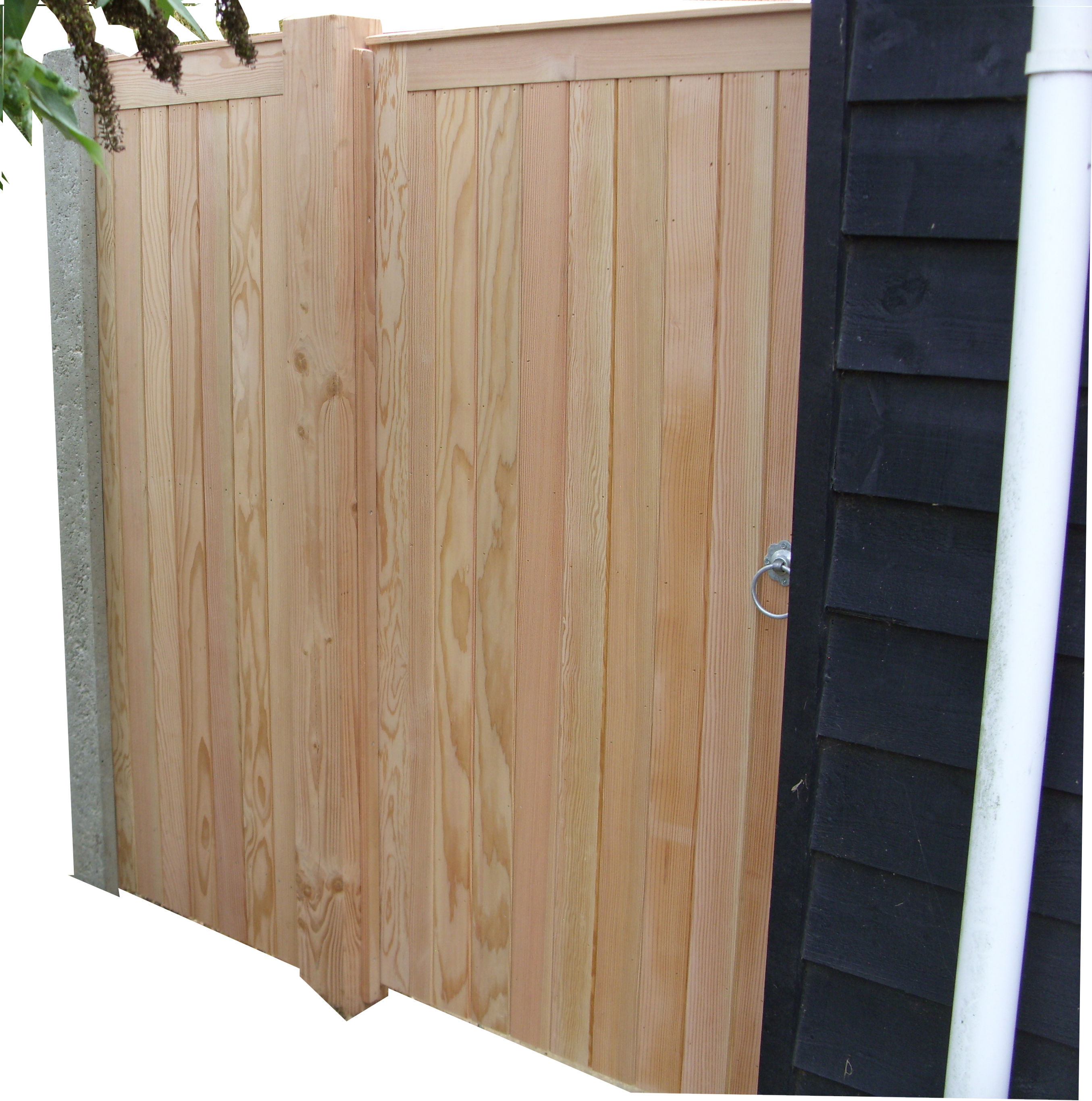 Glemham pedestrian gate with matching side panel in Douglas Fir.