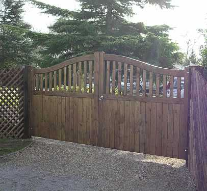 Stour gates in stained softwood.
